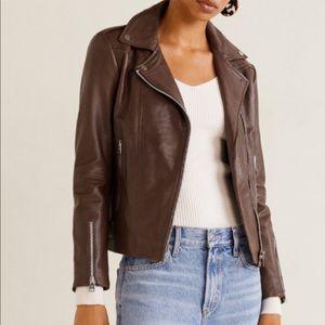 Mango 100% Genuine Leather biker jacket